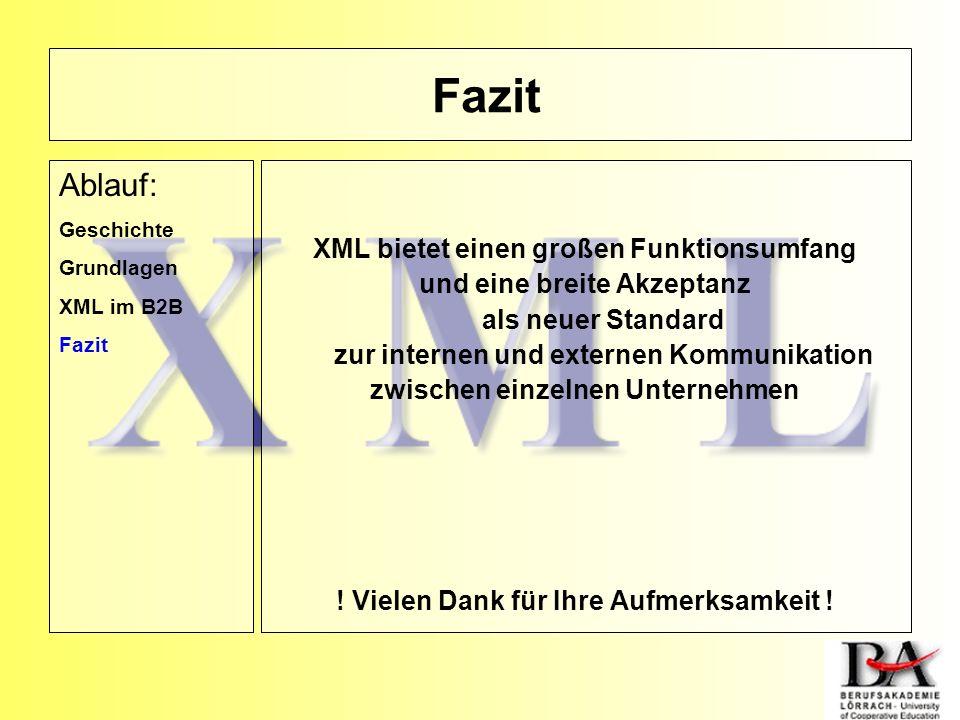 Fazit Ablauf: XML bietet einen großen Funktionsumfang