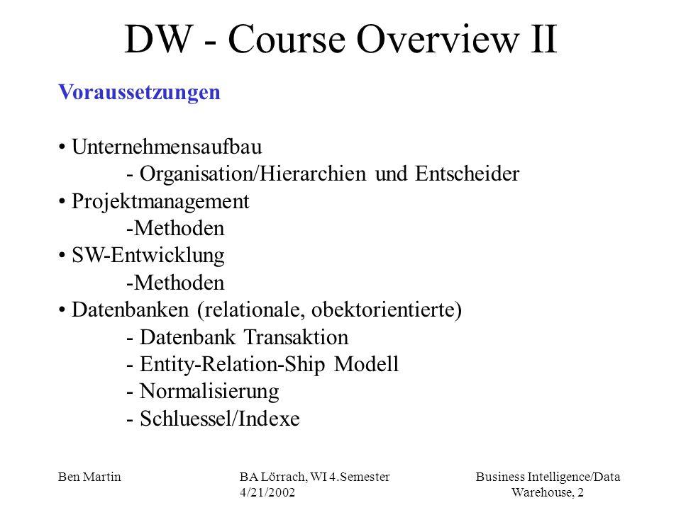DW - Course Overview II Voraussetzungen Unternehmensaufbau