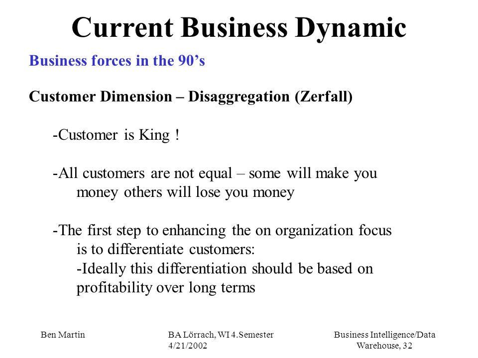 Current Business Dynamic
