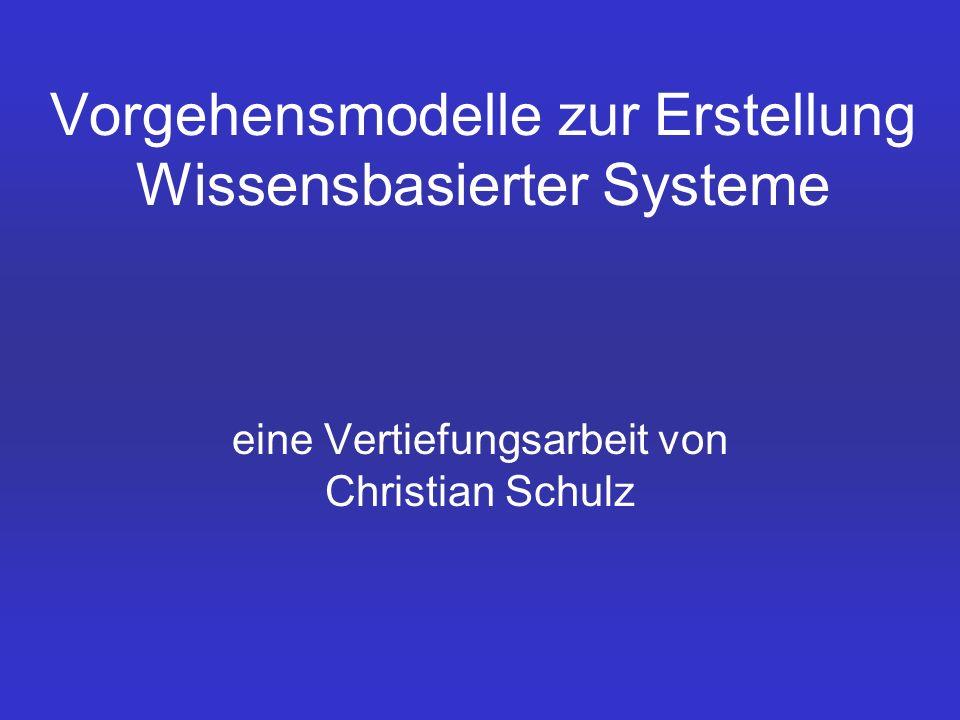 Vorgehensmodelle zur Erstellung Wissensbasierter Systeme