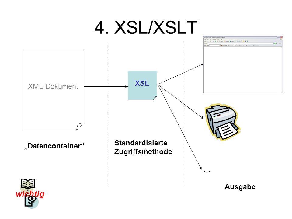 4. XSL/XSLT wichtig XML-Dokument XSL Standardisierte Zugriffsmethode