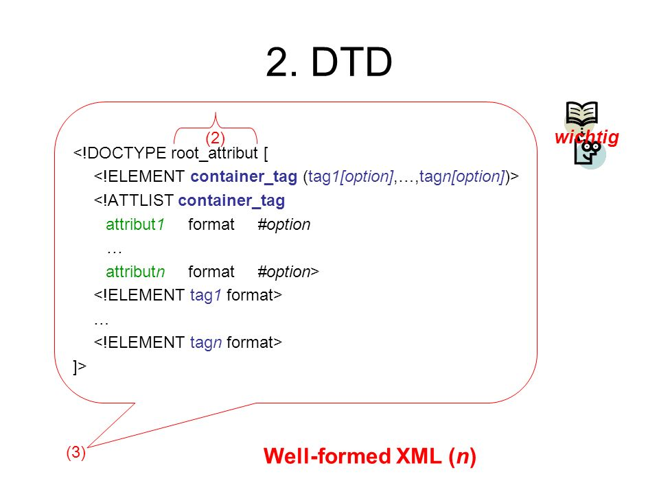 2. DTD Well-formed XML (n) wichtig (2) <!DOCTYPE root_attribut [