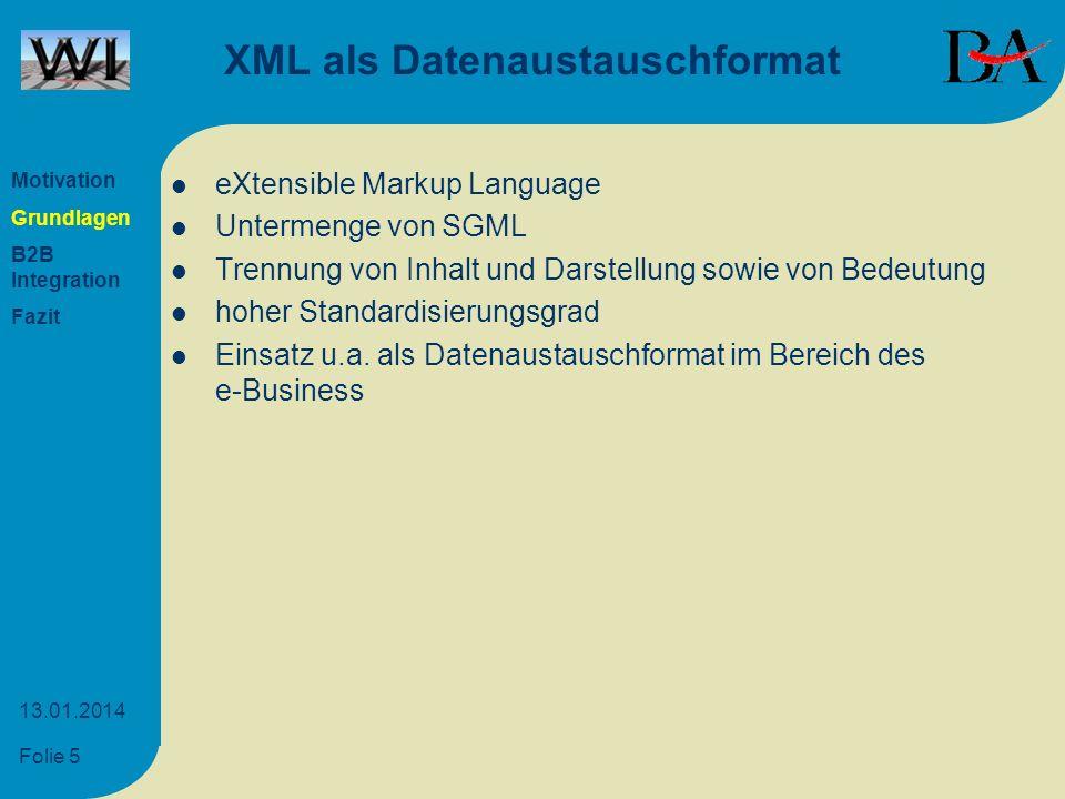 XML als Datenaustauschformat