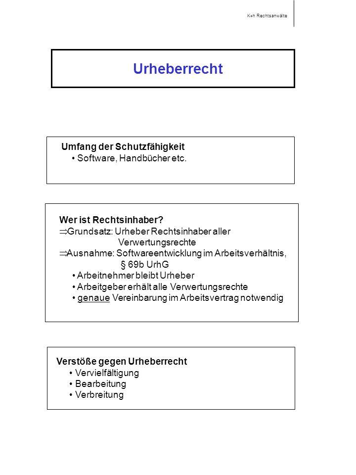 Urheberrecht Umfang der Schutzfähigkeit • Software, Handbücher etc.