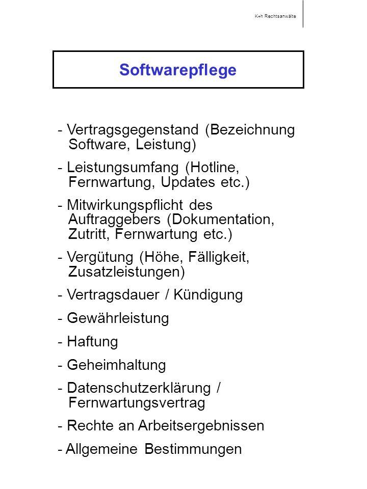Softwarepflege - Vertragsgegenstand (Bezeichnung Software, Leistung)