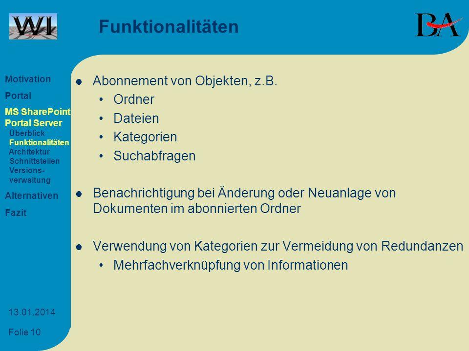 Funktionalitäten Abonnement von Objekten, z.B. Ordner Dateien