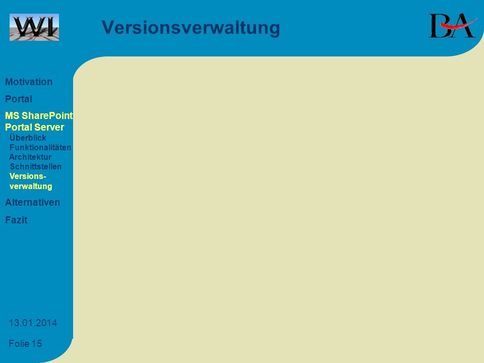 Versionsverwaltung Motivation Portal MS SharePoint Portal Server