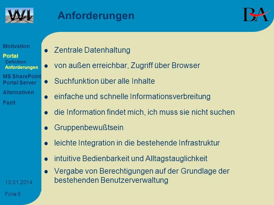 Anforderungen Zentrale Datenhaltung
