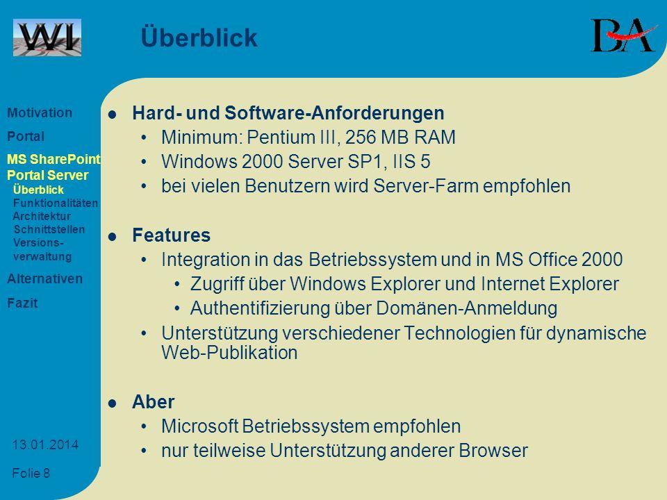 Überblick Hard- und Software-Anforderungen