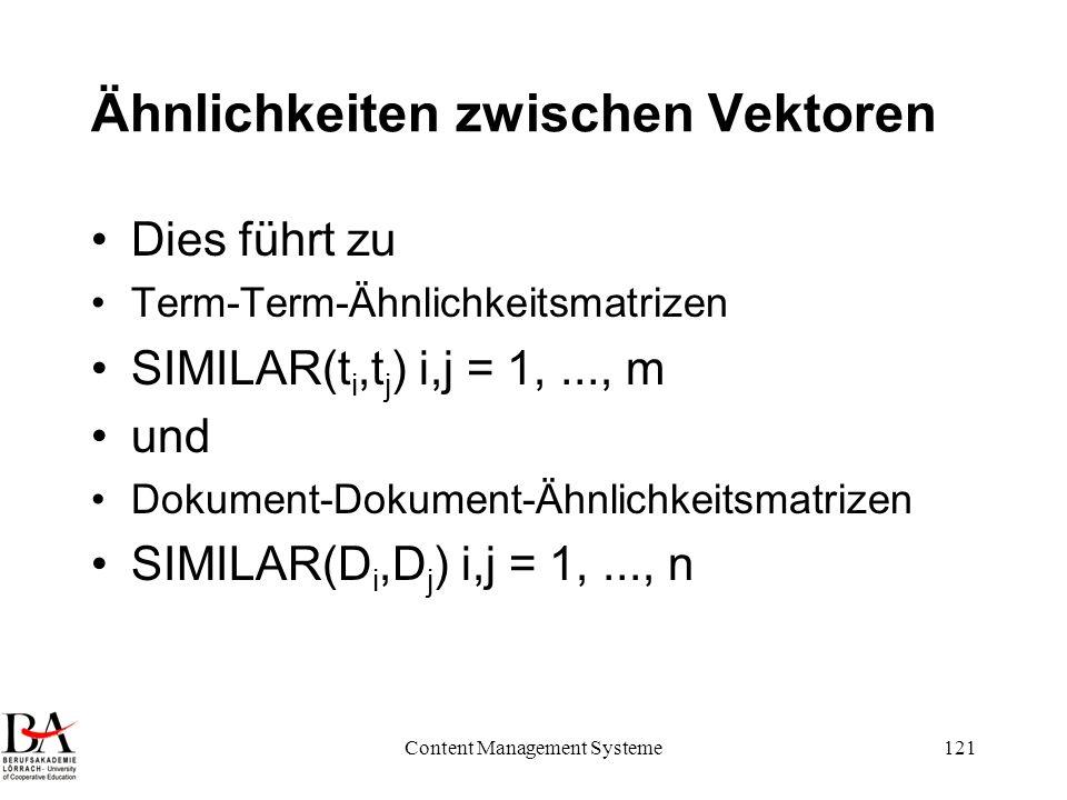 Ähnlichkeiten zwischen Vektoren