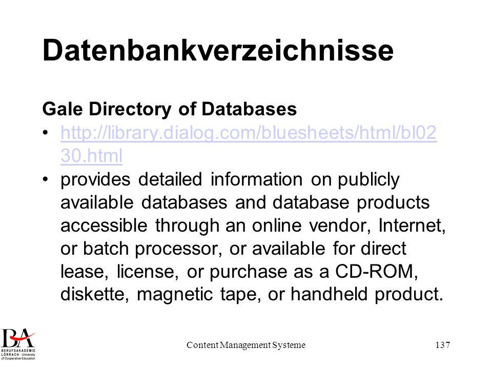 Datenbankverzeichnisse