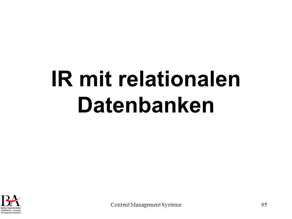 IR mit relationalen Datenbanken