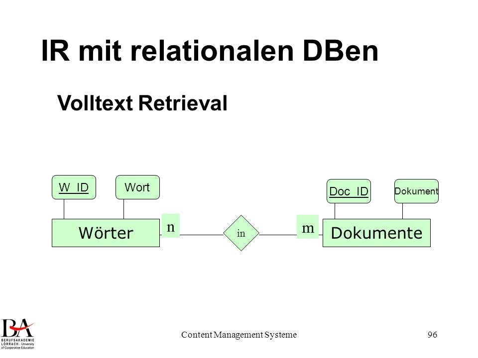 IR mit relationalen DBen