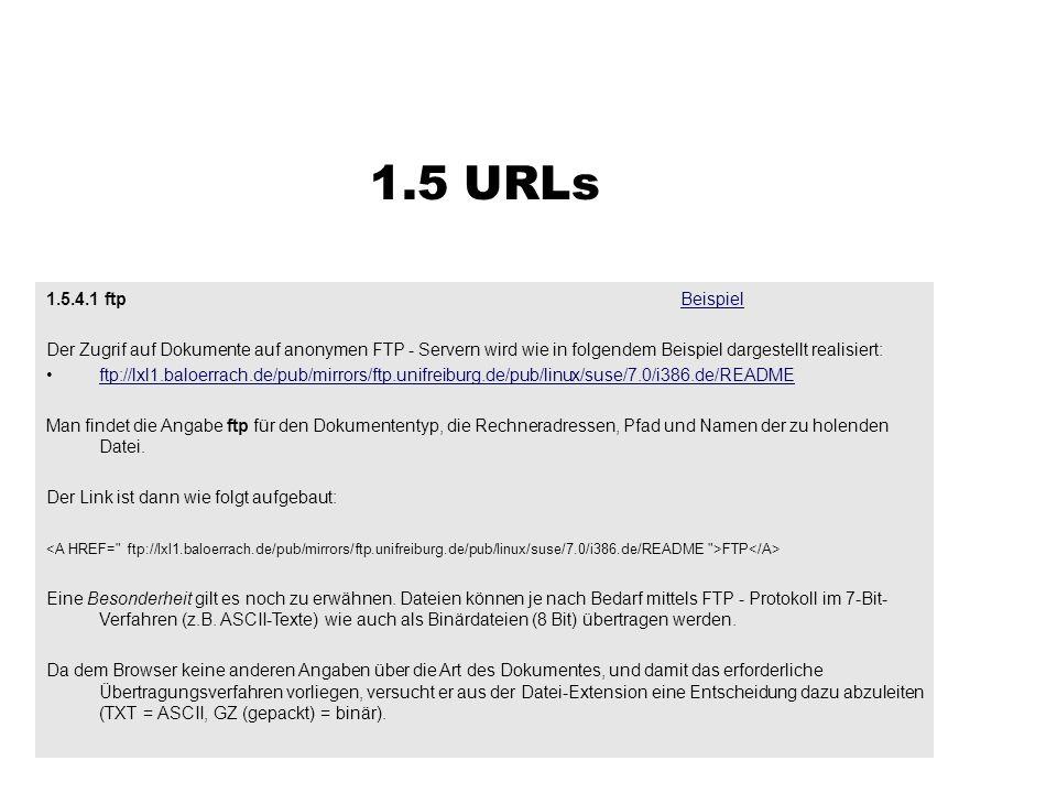 1.5 URLs 1.5.4.1 ftp Beispiel. Der Zugrif auf Dokumente auf anonymen FTP - Servern wird wie in folgendem Beispiel dargestellt realisiert: