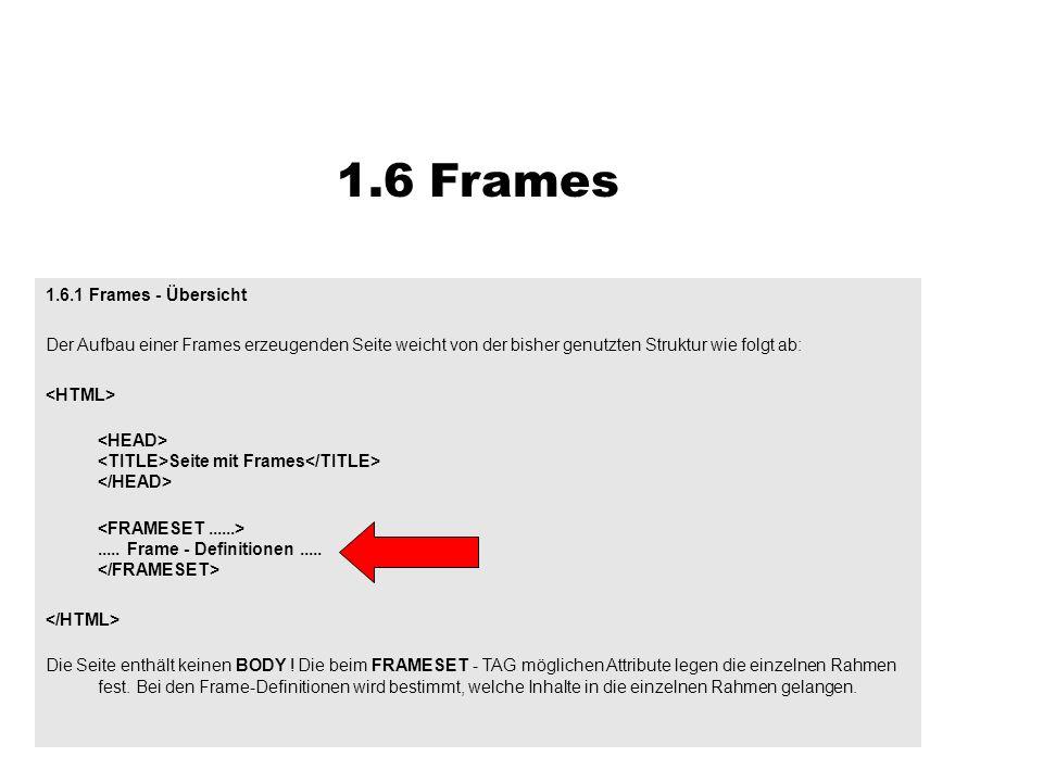 1.6 Frames 1.6.1 Frames - Übersicht