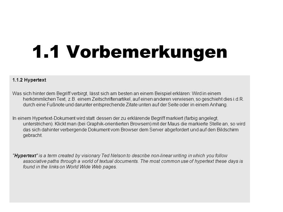 1.1 Vorbemerkungen 1.1.2 Hypertext