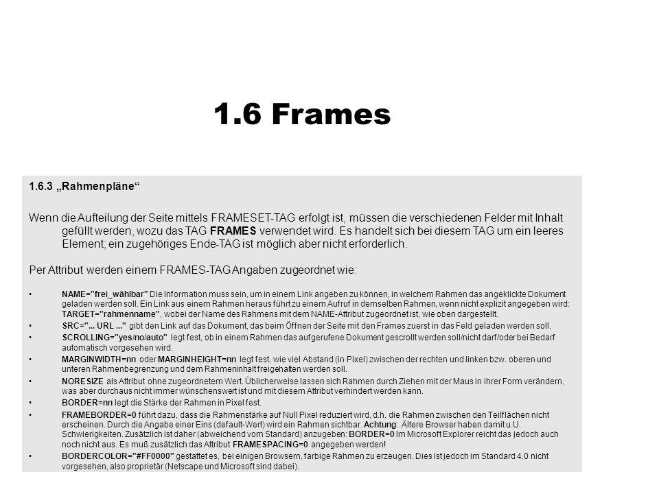 """1.6 Frames 1.6.3 """"Rahmenpläne"""