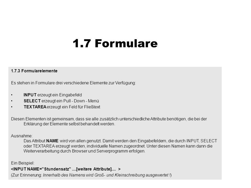 1.7 Formulare 1.7.3 Formularelemente