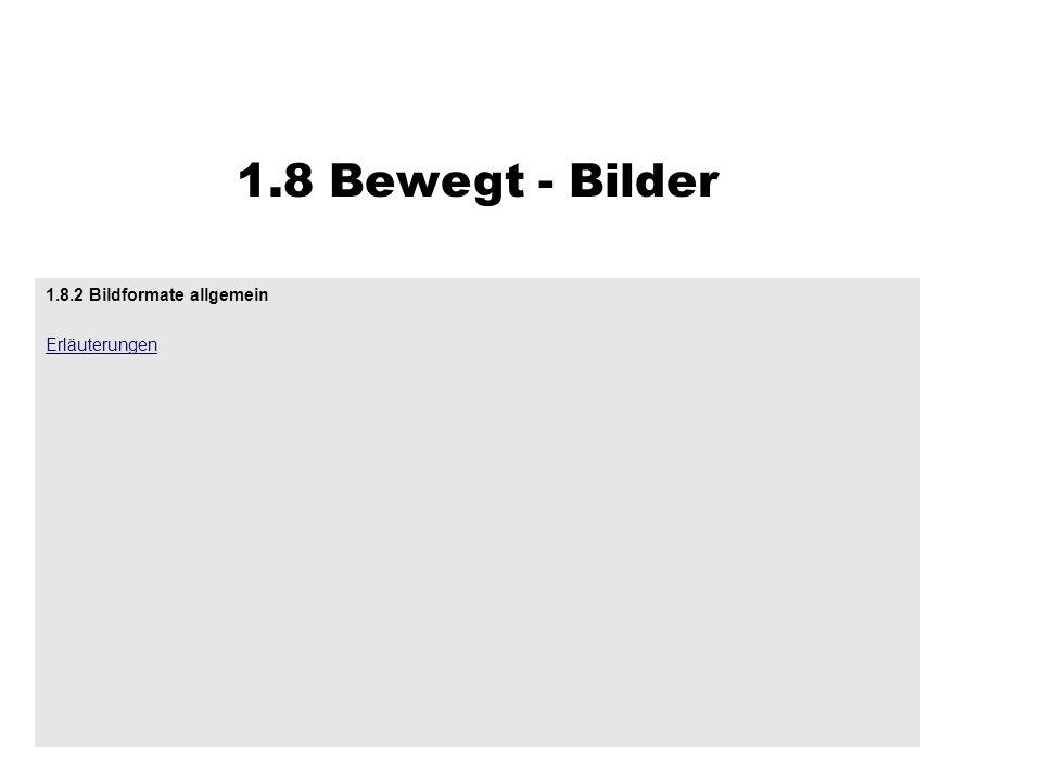 1.8 Bewegt - Bilder 1.8.2 Bildformate allgemein Erläuterungen