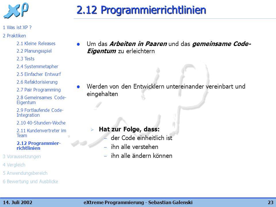 2.12 Programmierrichtlinien