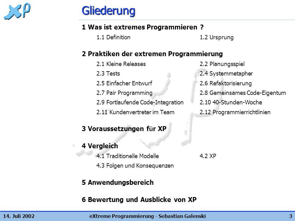 eXtreme Programmierung - Sebastian Galenski