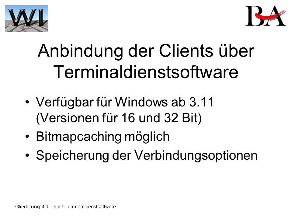 Anbindung der Clients über Terminaldienstsoftware