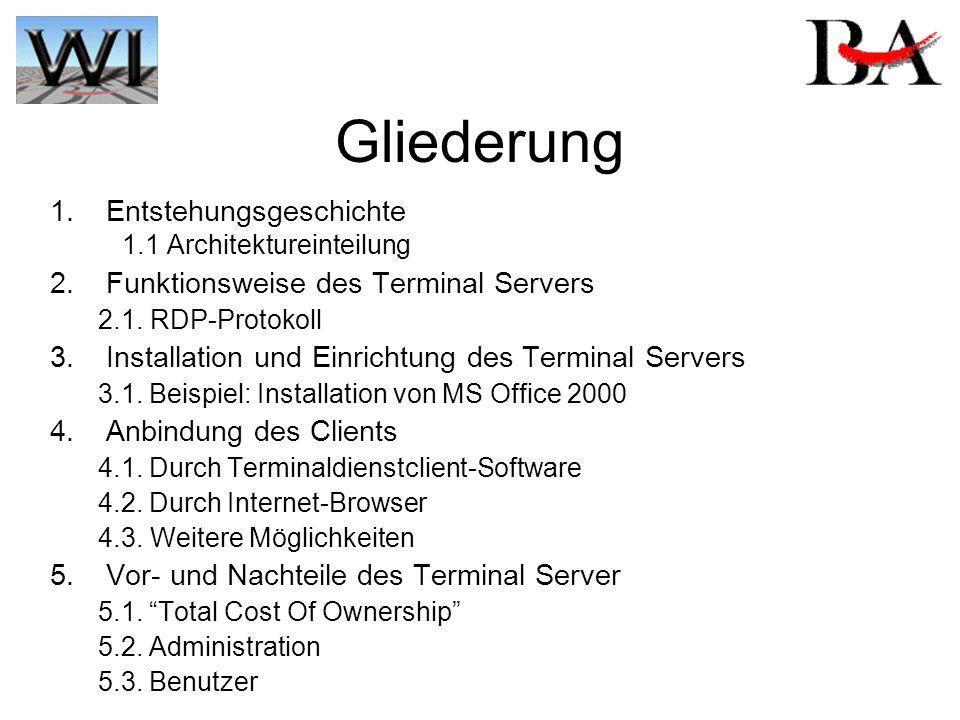 Gliederung 1. Entstehungsgeschichte 1.1 Architektureinteilung