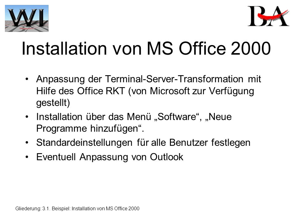 Installation von MS Office 2000