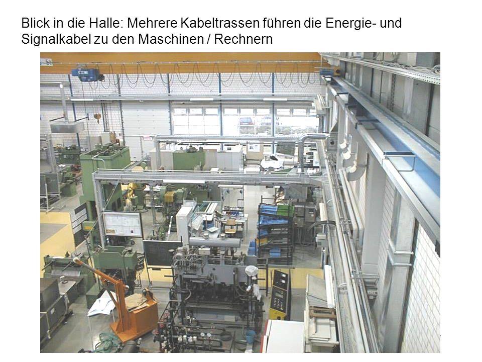 Blick in die Halle: Mehrere Kabeltrassen führen die Energie- und Signalkabel zu den Maschinen / Rechnern