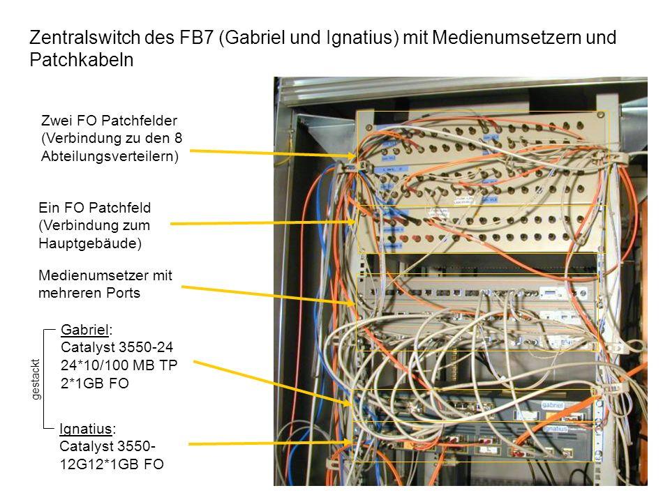 Zentralswitch des FB7 (Gabriel und Ignatius) mit Medienumsetzern und Patchkabeln