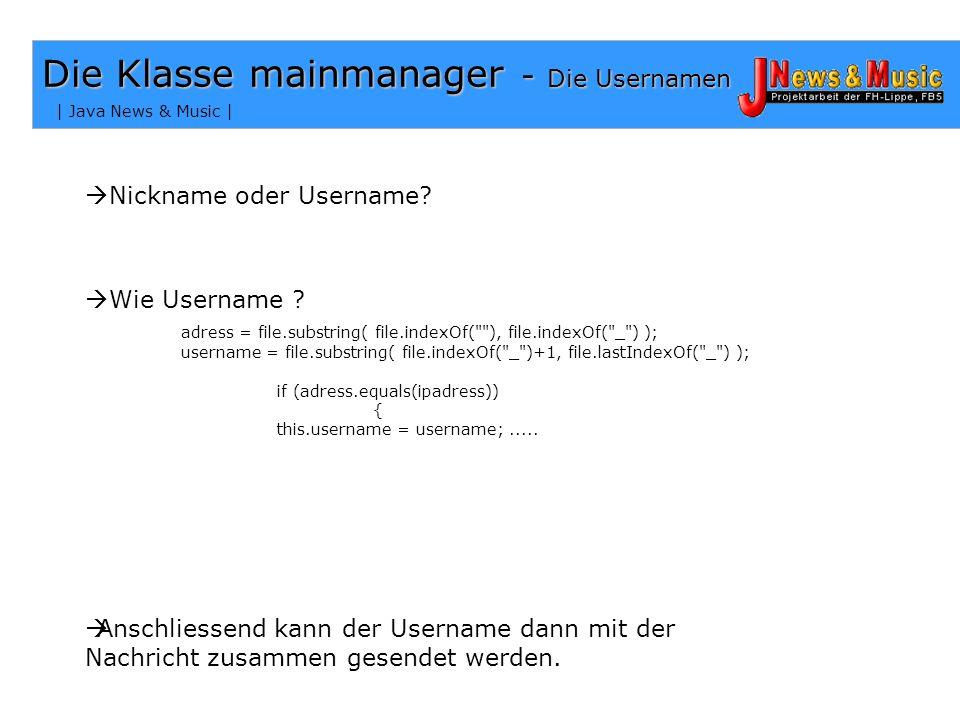 Die Klasse mainmanager - Die Usernamen