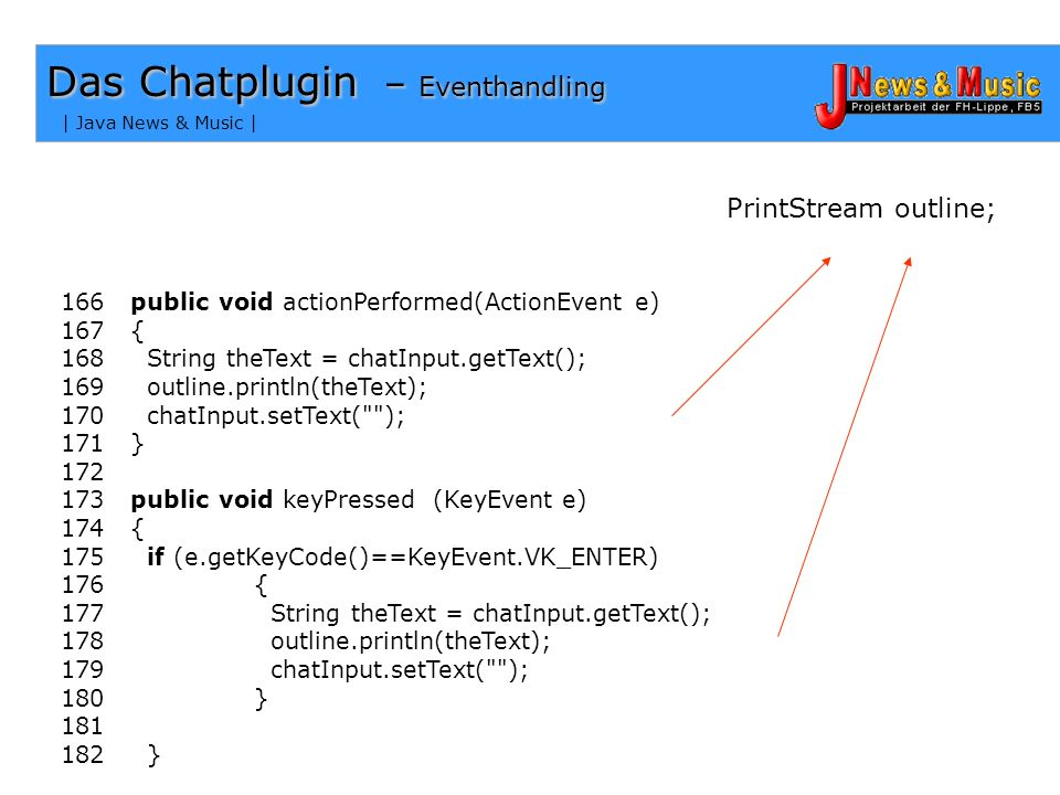 Das Chatplugin – Eventhandling