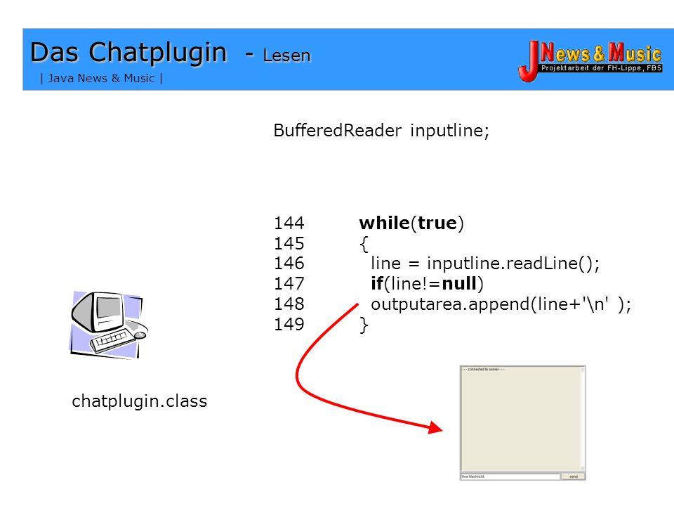 Das Chatplugin - Lesen BufferedReader inputline;