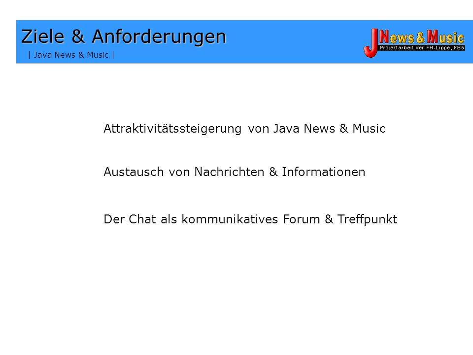 Ziele & Anforderungen Attraktivitätssteigerung von Java News & Music