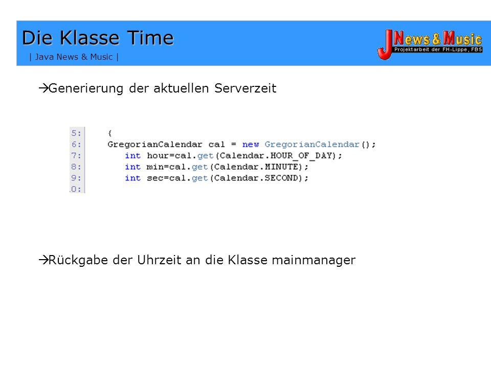 Die Klasse Time Generierung der aktuellen Serverzeit