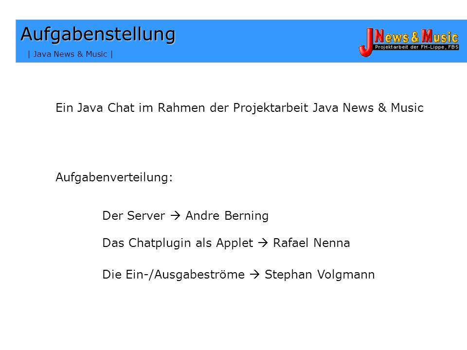 Aufgabenstellung | Java News & Music | Ein Java Chat im Rahmen der Projektarbeit Java News & Music.