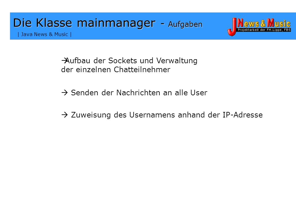 Die Klasse mainmanager - Aufgaben