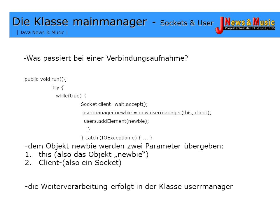 Die Klasse mainmanager - Sockets & User