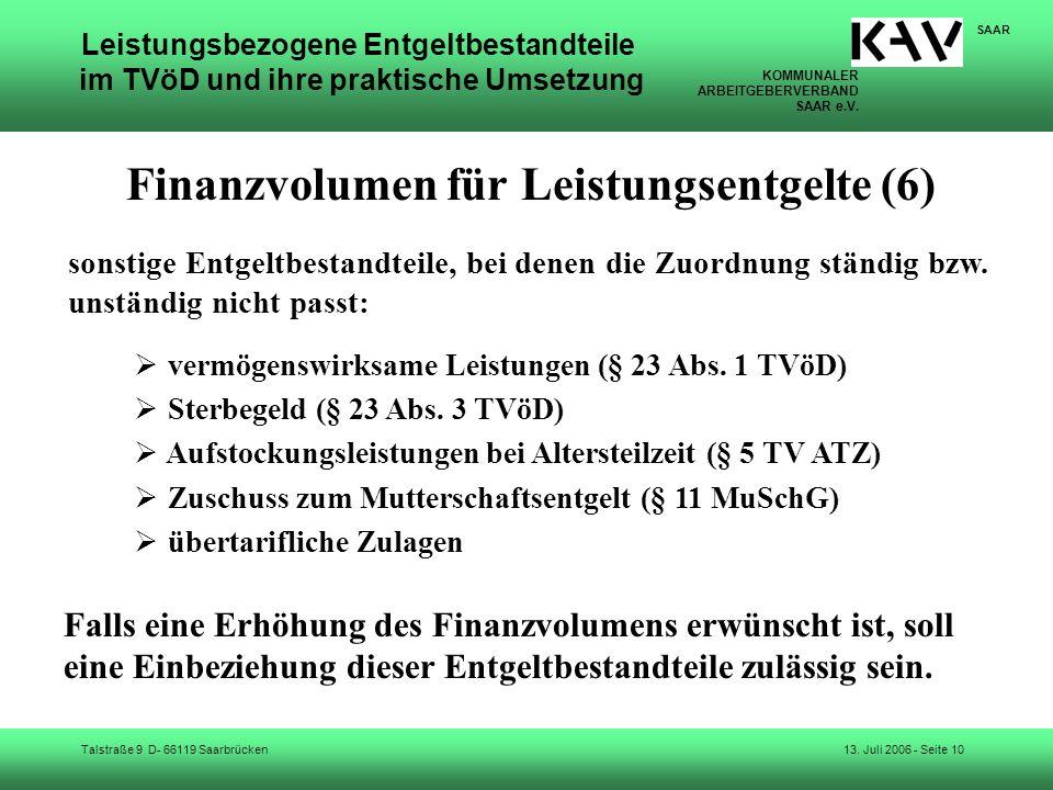 Finanzvolumen für Leistungsentgelte (6)