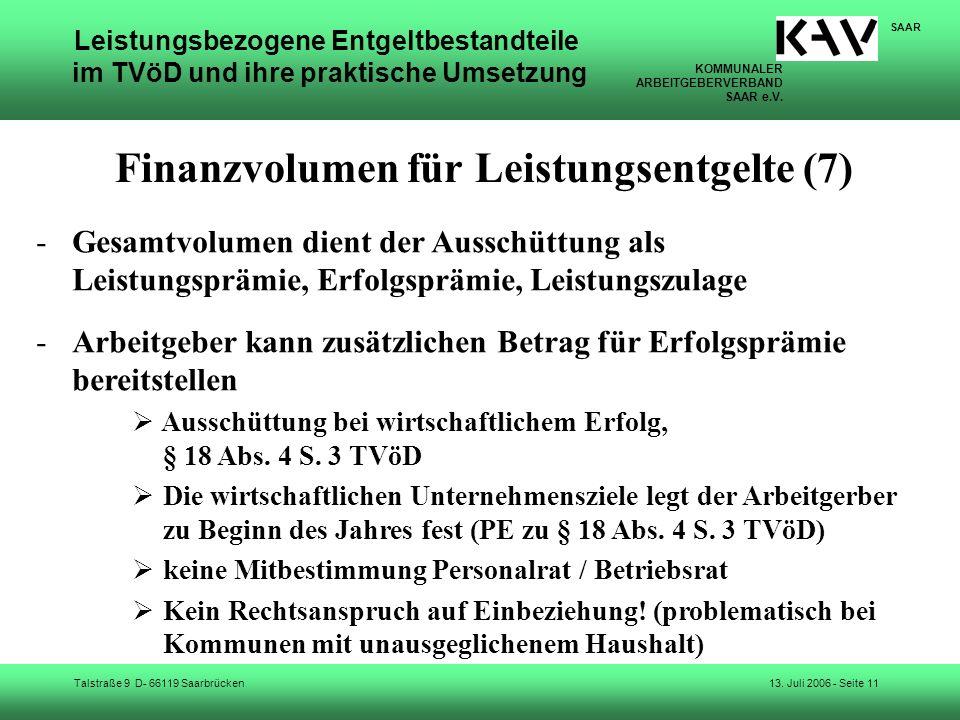 Finanzvolumen für Leistungsentgelte (7)