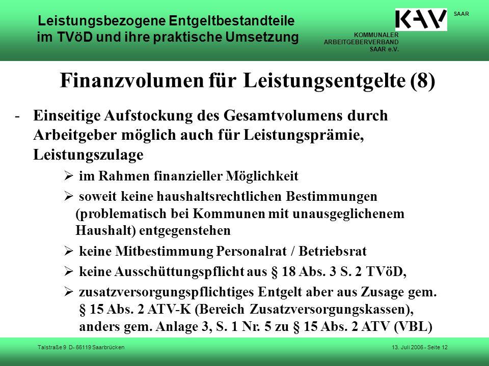 Finanzvolumen für Leistungsentgelte (8)
