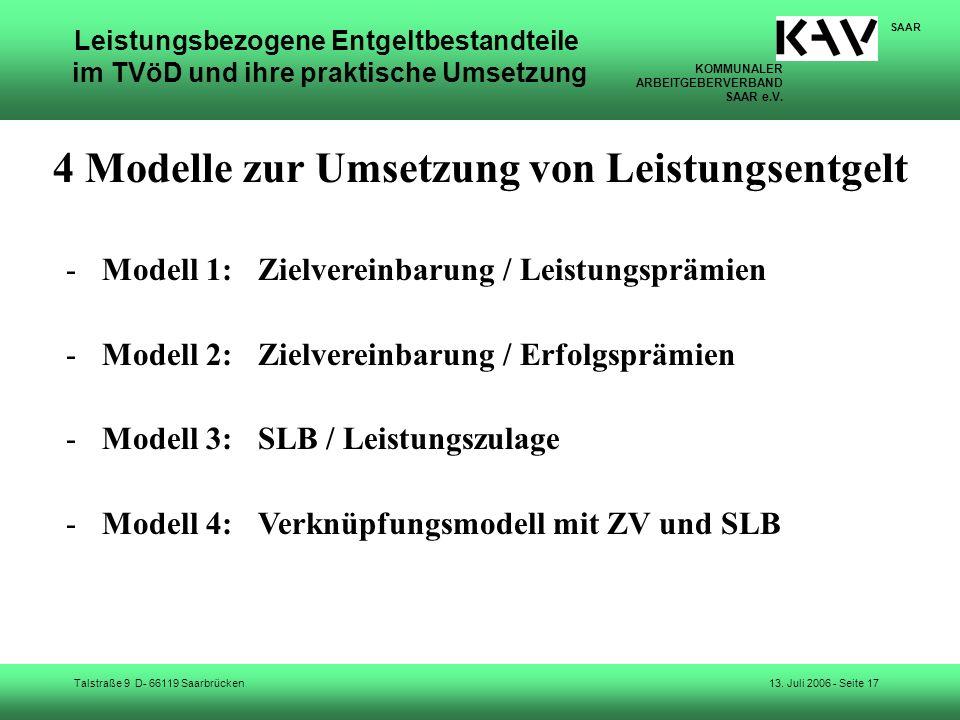 4 Modelle zur Umsetzung von Leistungsentgelt