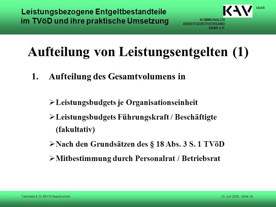 Aufteilung von Leistungsentgelten (1)