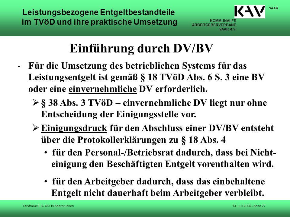 Einführung durch DV/BV