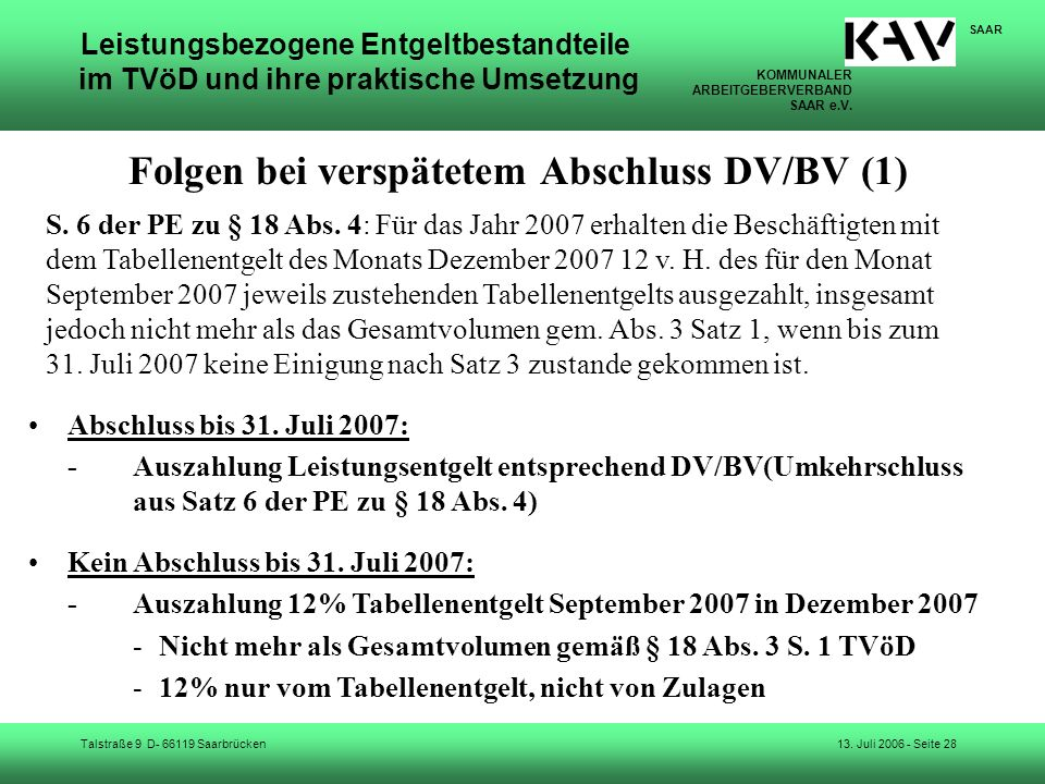Folgen bei verspätetem Abschluss DV/BV (1)