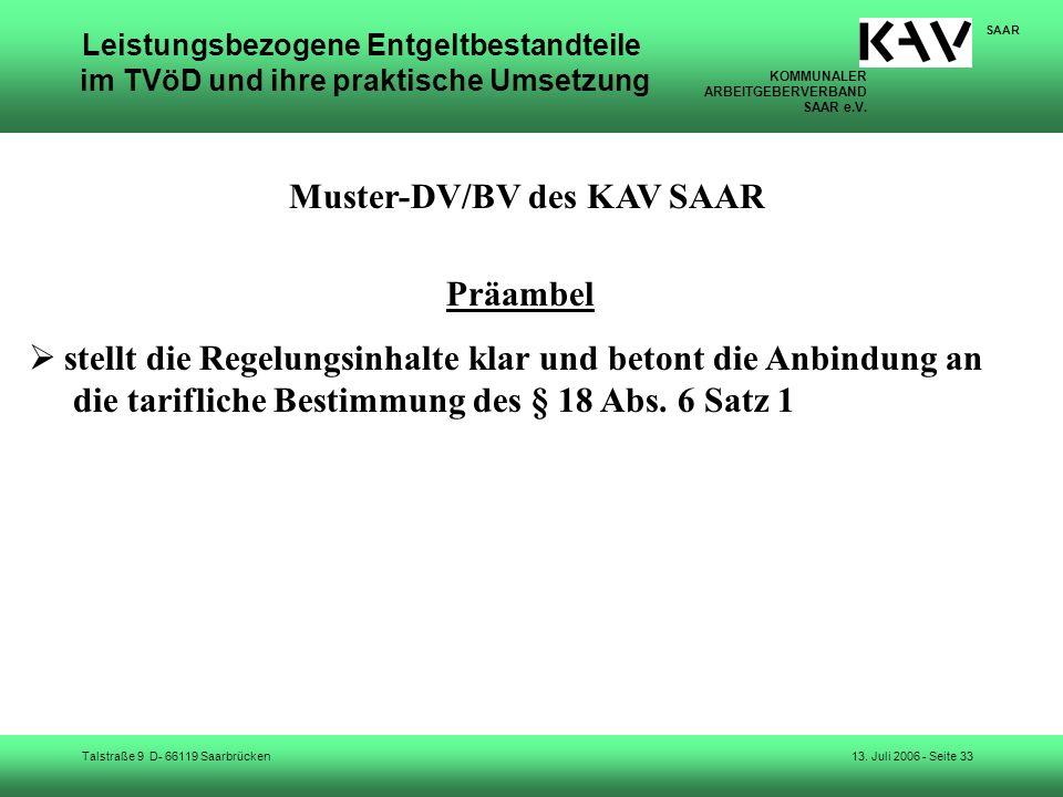 Muster-DV/BV des KAV SAAR