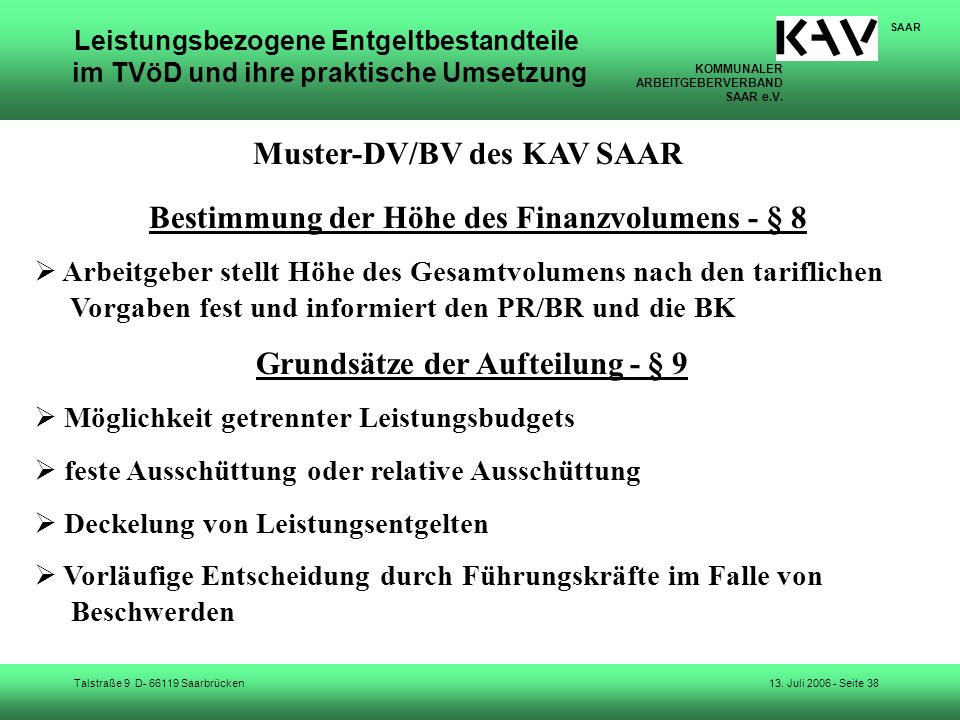 Muster-DV/BV des KAV SAAR Grundsätze der Aufteilung - § 9