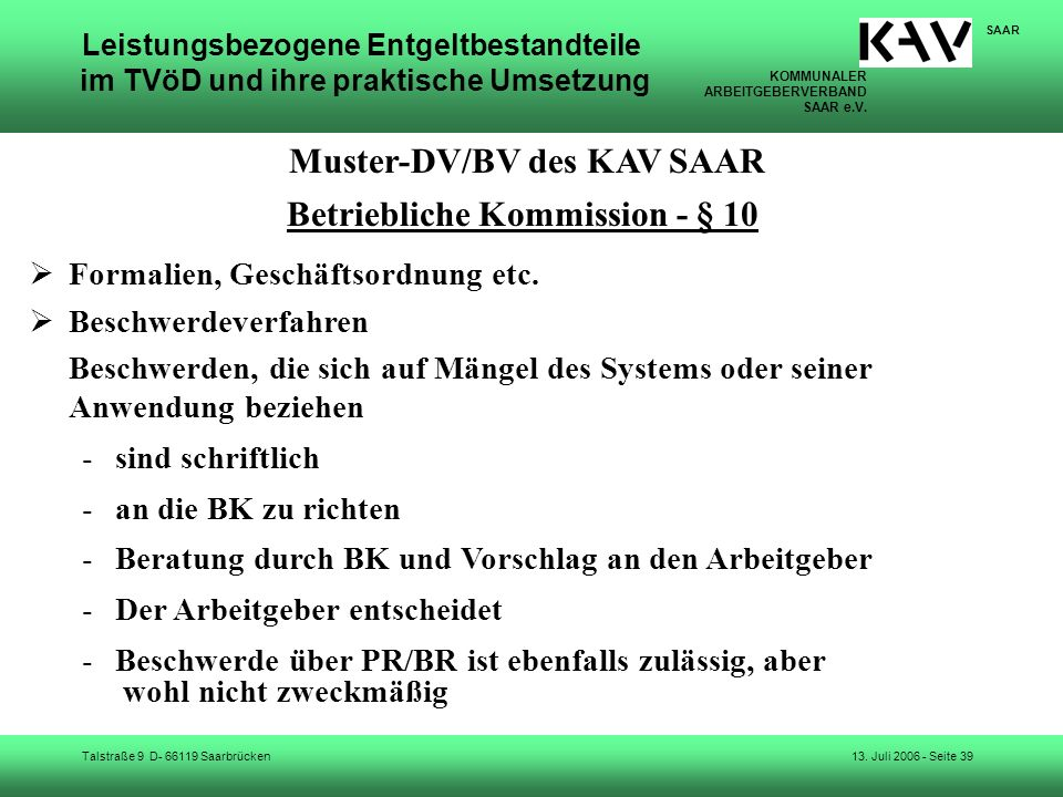 Muster-DV/BV des KAV SAAR Betriebliche Kommission - § 10