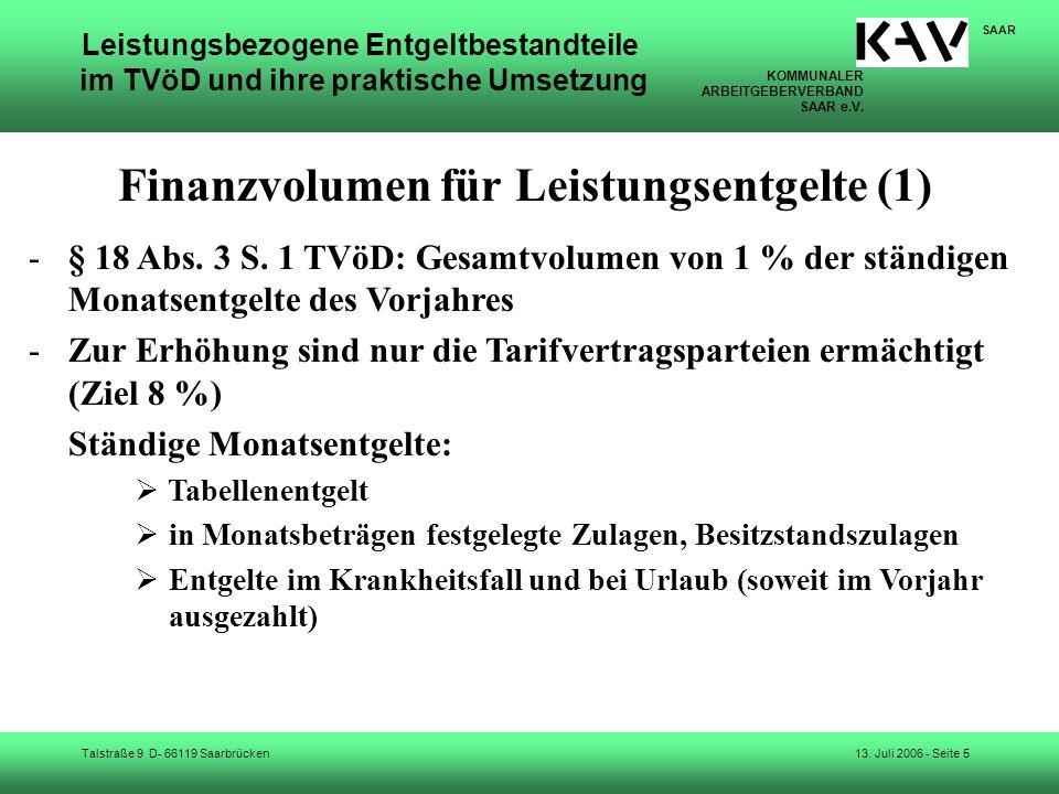Finanzvolumen für Leistungsentgelte (1)