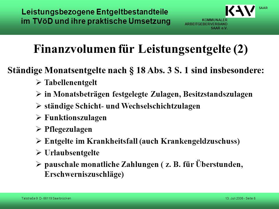 Finanzvolumen für Leistungsentgelte (2)